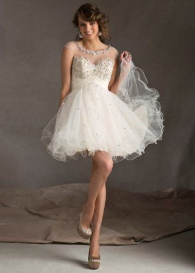 Sheer Beaded Top White Lace Tulle Keyhole Back Cocktail Dress