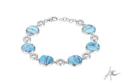 Circle Bracelet (18-20x1.5 cm / 17.7 grams) - Larimar