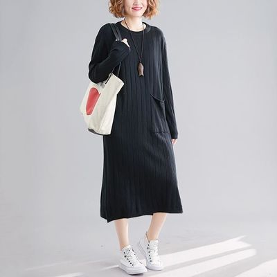 GREEN PLUS SIZE KNITTING FEMALE LADY VESTIDOS SWEATER LOOSE CASUAL SOLID STRIPED LONG SLEEVE BASIC DRESS