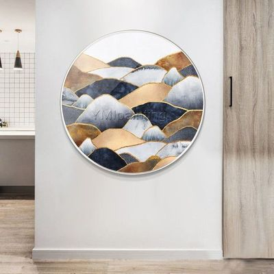 Gold art Mountain Abstract framed Painting on canvas Original art blue Circular painting wall pictures textured painting cuadros abstractos $609.00