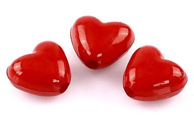 Pack of 200 Red Heart Acrylic Beads. 11mm x 10mm with 1mm Hole. For Valentine's Gift, Earrings, Necklace, Bracelet, Macrame and Craft £4.79