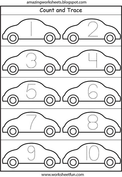 Free Worksheets preschool number tracing : LOTS of worksheets for all themes////Cars - Number Tracing 1 ...