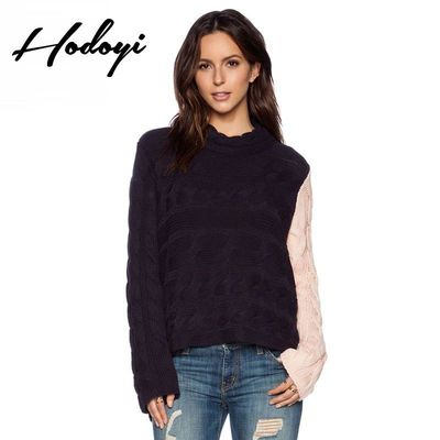 Oversized Vogue Simple Solid Color Scoop Neck Fall Braided Casual 9/10 Sleeves Sweater - Bonny YZOZO Boutique Store