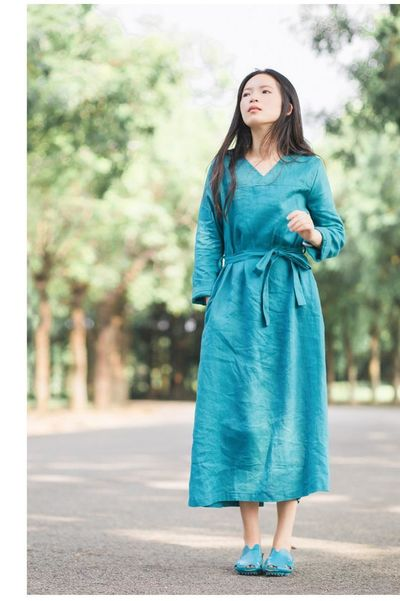 Green linen dress - Linen dress - Maxi dress - Maxi linen dress - Princess dress - Oversized dress - Summer linen dresses - Large size dress