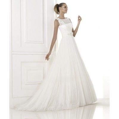 Elegant A-line Bateau Straps Beading Lace Ruching Sweep/Brush Train Tulle Wedding Dresses - Dressesular.com
