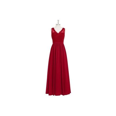 Burgundy Azazie Beverly - Floor Length Chiffon And Lace V Neck Side Zip Dress - Charming Bridesmaids Store