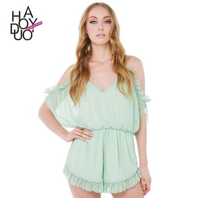 Sexy Sweet Open Back Hollow Out Curvy V-neck Summer Strappy Top Jumpsuit - Bonny YZOZO Boutique Store