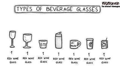 Types of beverage glasses humor