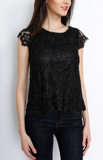 Black Crochet Floral Top with Lining
