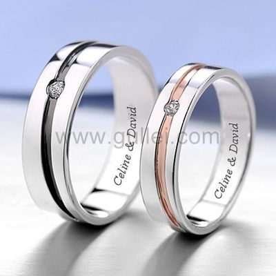 Gullei.com Matching Engraved Promise Rings for Him and Her