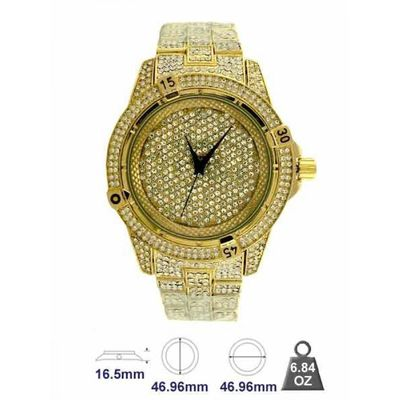 XL Chunky Gold Plated Full Iced Out mini Clear Stones Round Bezel detail Cut Edges Hip Hop Bling Watch £39.95