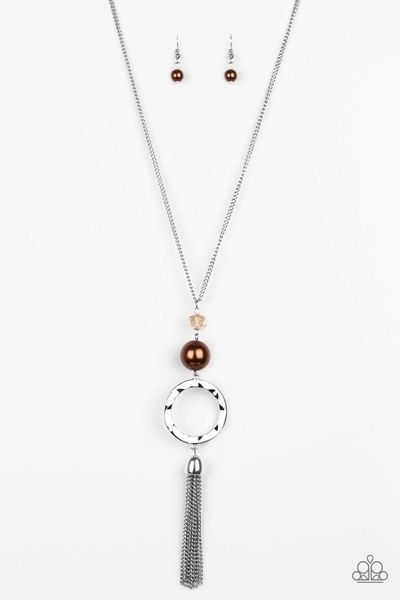 Paparazzi Bold Balancing Act - Crystal Bead Brown Pearl Hammered Silver Hoop Tassel Necklace $5.00