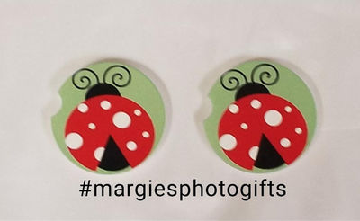 2 Absorbent Car Coasters, Lady Bug Green backgrnd Car Accessories for her, Auto Coaster, Coaster, Cup Holder Coaster, Gift For Her, For Him $14.00