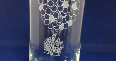 Thought these could work as your toasting glasses.....Disney Pixar Up Etched Pint Glass Carl and Ellie House by MyHoard, $7.50