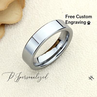 Classic Pipe Cut Tungsten Wedding Band Men, Custom Engraving 6mm Tungsten Ring Men, Tungsten Carbide Mens Promise Ring, Couple Gift $62.00