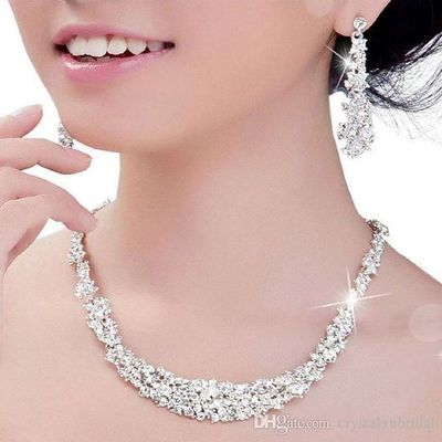 Cheap Crystal Bridal Jewelry Set silver plated necklace diamond earrings Wedding jewelry sets for bride Bridesmaids women Bridal Accessories Sold By : Crystalxubridal  ( 97.2%Positive Feedback )   69Reviews | 193Transactions $8.93 $17.8...