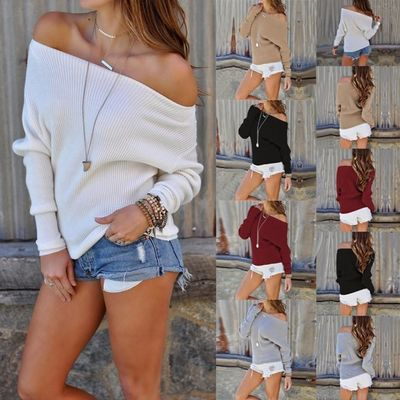Women's Autumn or Winter Long Sleeve Fashion Boat Neck Sweater $29.99