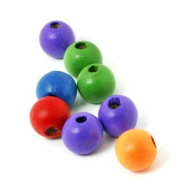 Pack of 200 Assorted Colours Round Wooden Beads. 8mm x 6mm Natural Wood Spacers £7.99