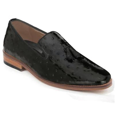 Johny Weber Handmade Loafers In Black Ostrich Leather $419.00