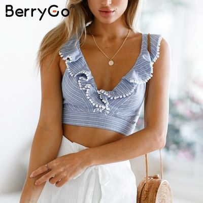 BerryGo Elegant ruffle stripe print tank top Sexy V sleeveless summer crop top cami Women lace up casual camisole tank blouse $38.32