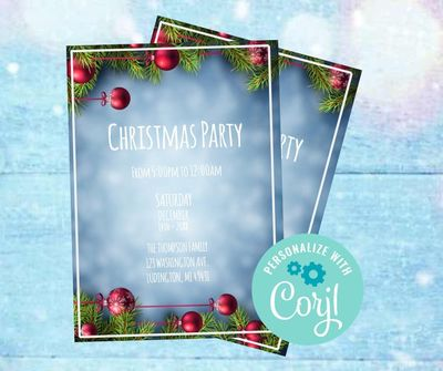 Christmas party invitations template holiday party invitation Digital Holiday party invitation Holiday invitations template Download pdf $5.15