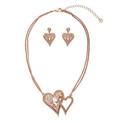 Double Heart Design Cut Necklace - Rose gold/Pink