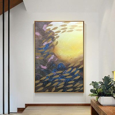 Gold art Seascape painting Modern Abstract acrylic Ocean fishes texture Paintings on canvas Wall Pictures cuadros abstractos home decor $99.00