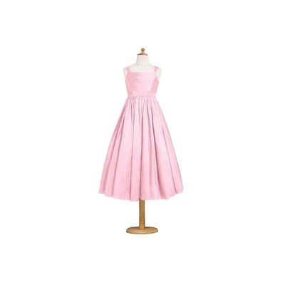Candy pink Azazie Penny JBD - Tea Length Taffeta Bow/Tie Back Dress - Charming Bridesmaids Store