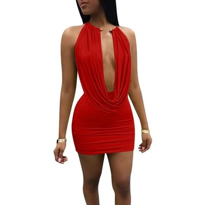 V-neck Halter Short Club Party Dress kr23.99