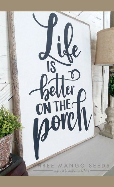 Life Is Better On the Porch wood sign, LARGE sign, farmhouse sign, porch decor, rustic wood frame, Farmhouse style, home decor, gift idea, farmhouse decor, rustic sign, rustic decor #ad