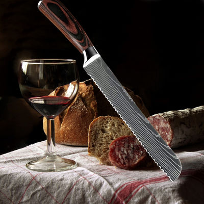 Bread Knife Chef Kitchen Knives 8 inch Professional Knives Stainless Steel Cooking Tools Pakka Wood Handle $19.50