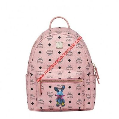MCM Small Stark Rabbit Backpack In Light Pink