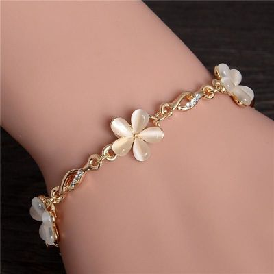 Price: $15.41 | Product: Flower Opal Charm Bracelets Gold Color Crystal Statement Bracelets & Bangles | Visit our online store https://ladiesgents.ca