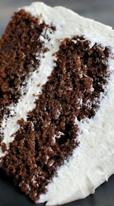 Chocolate Buttermilk Cake with White Chocolate Frosting