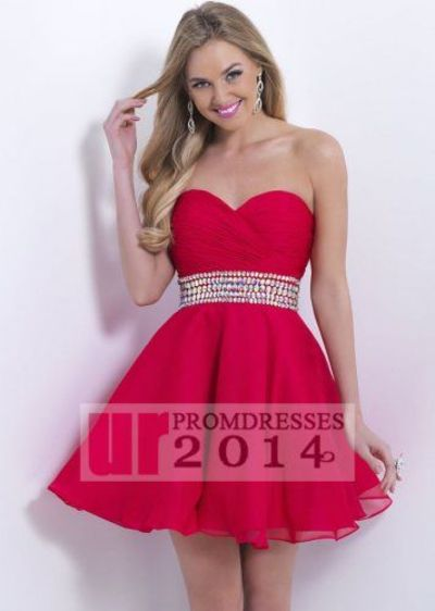 Discount Red Pleated Sweetheart Party Dress With Crystals Waist