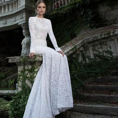 White Lace Sexy Long Sleeve Backless O-Neck Mermaid Wedding Gown Plus sizes $218.58
