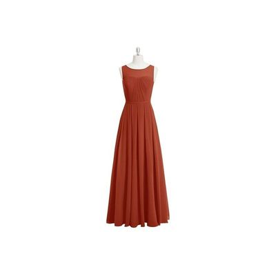 Rust Azazie Ambrosia - Keyhole Floor Length Chiffon Boatneck Dress - Cheap Gorgeous Bridesmaids Store