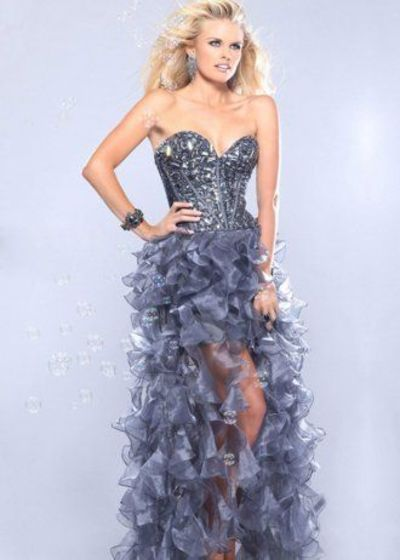 Grey Beaded Corset Top Organza Ruffled High Low Dress For Prom