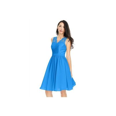 Ocean blue Azazie Cierra - Chiffon And Lace Back Zip V Neck Knee Length Dress - Simple Bridesmaid Dresses & Easy Wedding Dresses