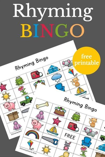 Exceptional image with rhyming games printable