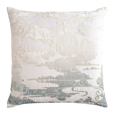 Sage & White Clouds Velvet Appliqué Pillow $293.00
