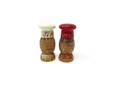Mid-century Wooden Salt and Pepper Shakers, Salty and Peppy Hand-Painted Kitschy Volco Brand Japan $19.99