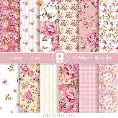 Floral Scrapbook Paper, Shabby Chic Digital Paper Pack, Roses Scrapbook Collage Sheets, Pink Roses - INSTANT DOWNLOAD