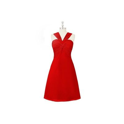 Red Azazie Mariana - V Neck Bow/Tie Back Chiffon Knee Length Dress - Charming Bridesmaids Store