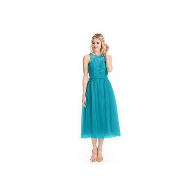 Jade Azazie Eva - Tulle And Lace Tea Length Back Zip Scoop Dress - Simple Bridesmaid Dresses & Easy Wedding Dresses