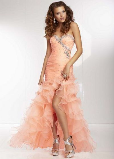 Pleated Jeweled Neck Coral Ruffled Organza Slit Evening Dress
