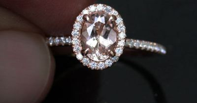 14k Rose Gold Morganite Oval 7x5mm and Diamond Halo Engagement or Wedding Ring (Choose color and size options at checkout) on Etsy, $650.00