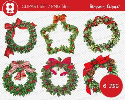 Christmas Holly Wreath Clip Art, Vintage Christmas PNG Wreath Clipart Graphic for Cards, Crafts, scrapbook, collage, prints