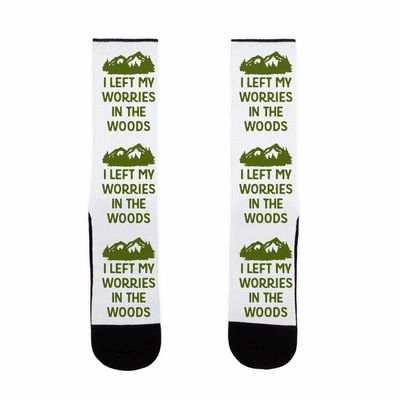 �œ� Handcrafted in USA! �œ� Support American Artisans I Left My Worries In The Woods US Size 7-13 Socks $15.99