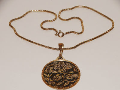 "950 Sterling Silver 16"" Inch Chain With Large 3D Sunflower Pendant. $122.00"